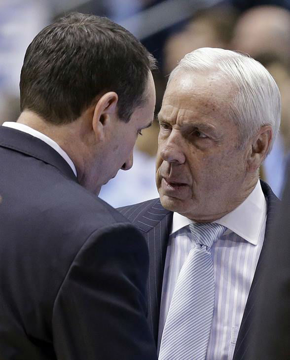 "<div class=""meta image-caption""><div class=""origin-logo origin-image none""><span>none</span></div><span class=""caption-text"">North Carolina coach Roy Williams speaks with Duke coach Mike Krzyzewski before the game. (Gerry Broome/AP)</span></div>"