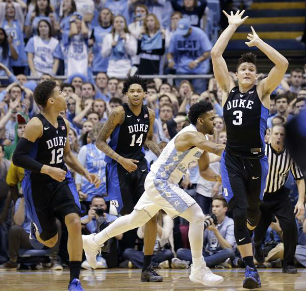 "<div class=""meta image-caption""><div class=""origin-logo origin-image none""><span>none</span></div><span class=""caption-text"">Duke's Derryck Thornton (12), Brandon Ingram (14) and Grayson Allen (3) react as time expires. (Gerry Broome/AP)</span></div>"