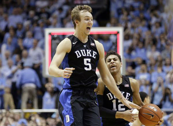 "<div class=""meta image-caption""><div class=""origin-logo origin-image none""><span>none</span></div><span class=""caption-text"">Duke's Luke Kennard (5) and Derryck Thornton (12) celebrate the team's 74-73 victory over North Carolina. (Gerry Broome/AP)</span></div>"