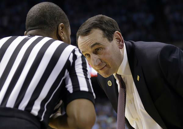 "<div class=""meta image-caption""><div class=""origin-logo origin-image none""><span>none</span></div><span class=""caption-text"">Coach K works the ref during Wednesday's game. (Gerry Broome/AP)</span></div>"