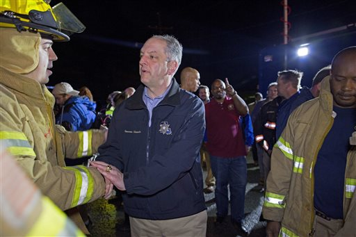 <div class='meta'><div class='origin-logo' data-origin='none'></div><span class='caption-text' data-credit=''>Louisiana Governor John Bel Edwards thanks first responders.  (AP Photo/Max Becherer)</span></div>