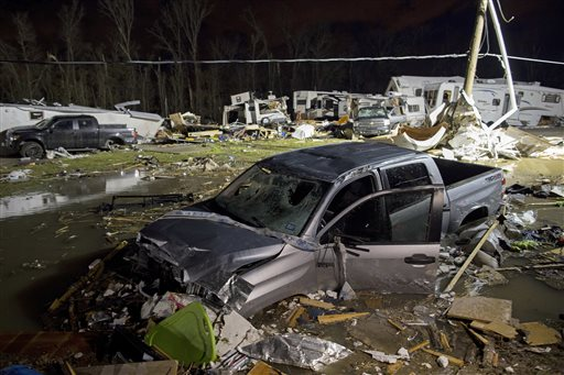 <div class='meta'><div class='origin-logo' data-origin='none'></div><span class='caption-text' data-credit=''>Destroyed trailers and vehicles are all that remain of the Sugar Hill RV Park after a suspected tornado hit the park in Convent, La. (AP Photo/Max Becherer)</span></div>
