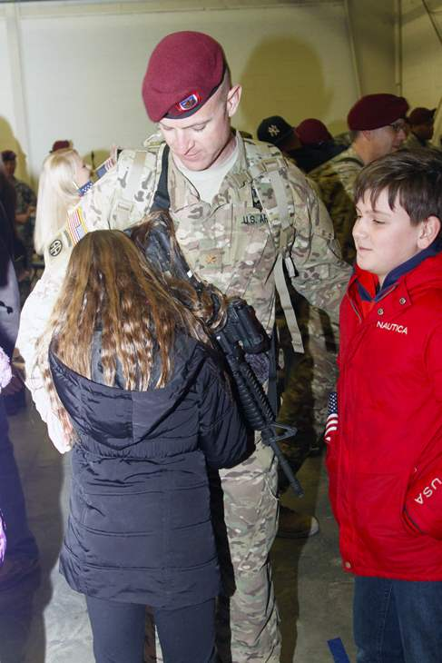 <div class='meta'><div class='origin-logo' data-origin='none'></div><span class='caption-text' data-credit='82nd Airborne Division'>More than 150 82nd Airborne soldiers arrived back home to Fort Bragg early Tuesday morning to the waiting arms of their loved ones.</span></div>