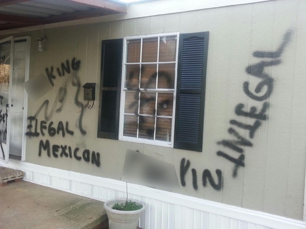 <div class='meta'><div class='origin-logo' data-origin='none'></div><span class='caption-text' data-credit=''>The paint was sprayed on a home near Apex.</span></div>