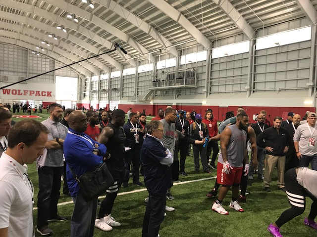 <div class='meta'><div class='origin-logo' data-origin='WTVD'></div><span class='caption-text' data-credit='Charlie Mickens'>It was a packed house for NC State's pro day Monday in Raleigh.</span></div>
