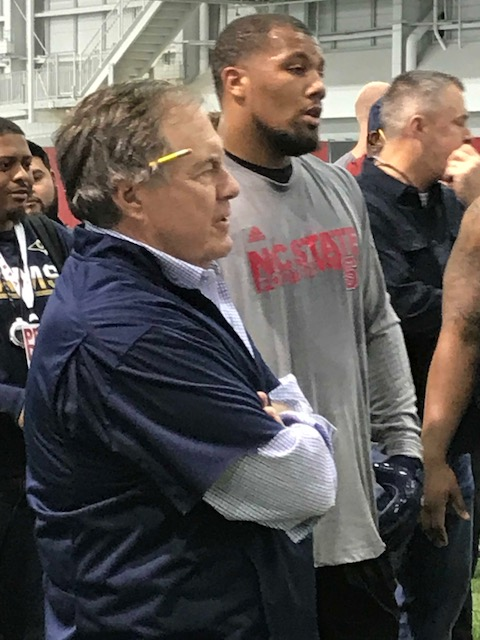 <div class='meta'><div class='origin-logo' data-origin='WTVD'></div><span class='caption-text' data-credit='Charlie Mickens'>New England coach Bill Belichick was the big man on campus at NC State's pro day Monday.</span></div>