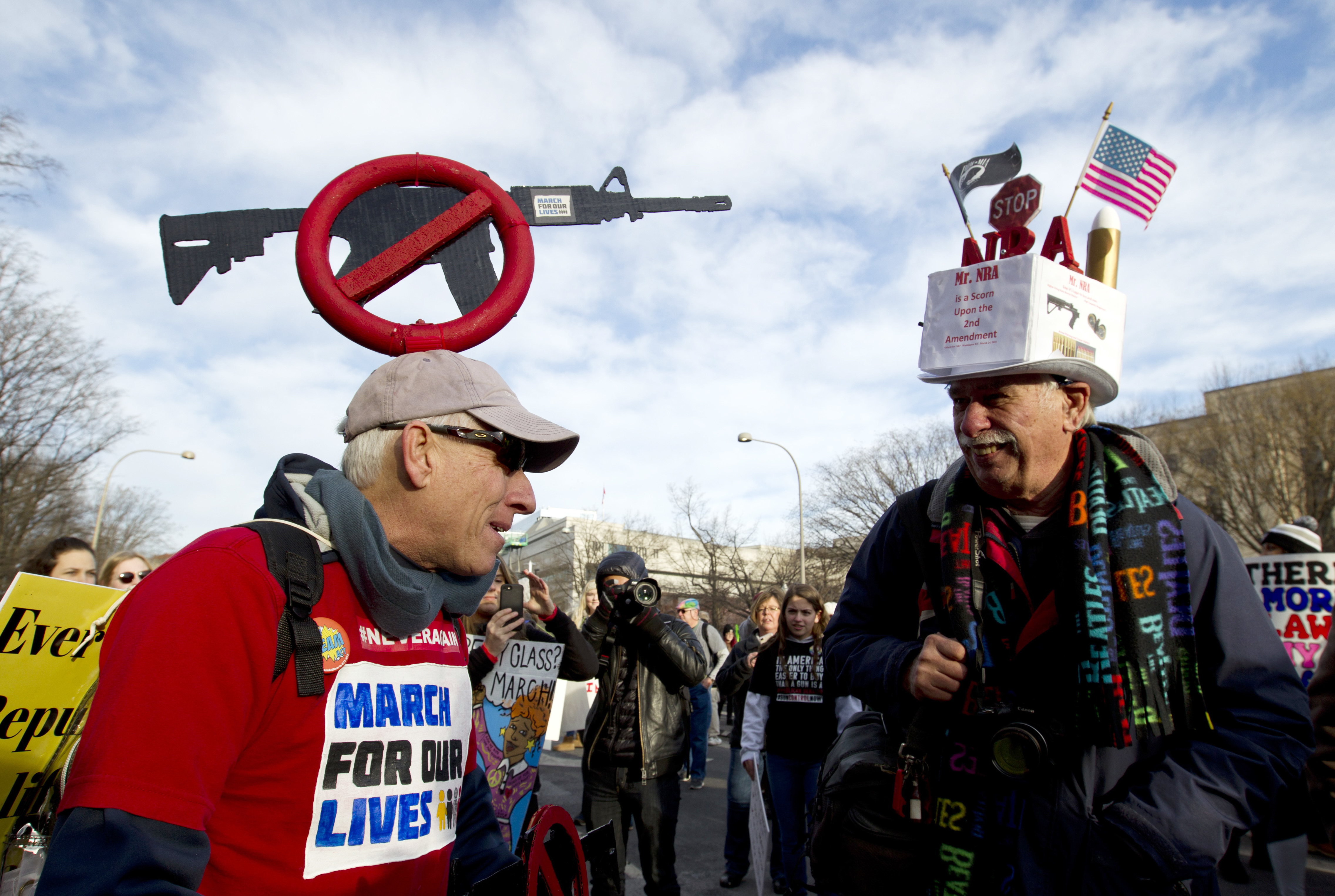 <div class='meta'><div class='origin-logo' data-origin='AP'></div><span class='caption-text' data-credit='AP'>Crowds of people hold signs on Pennsylvania Avenue at the &#34;March for Our Lives&#34; rally in support of gun control, Saturday, March 24, 2018, in Washington.</span></div>
