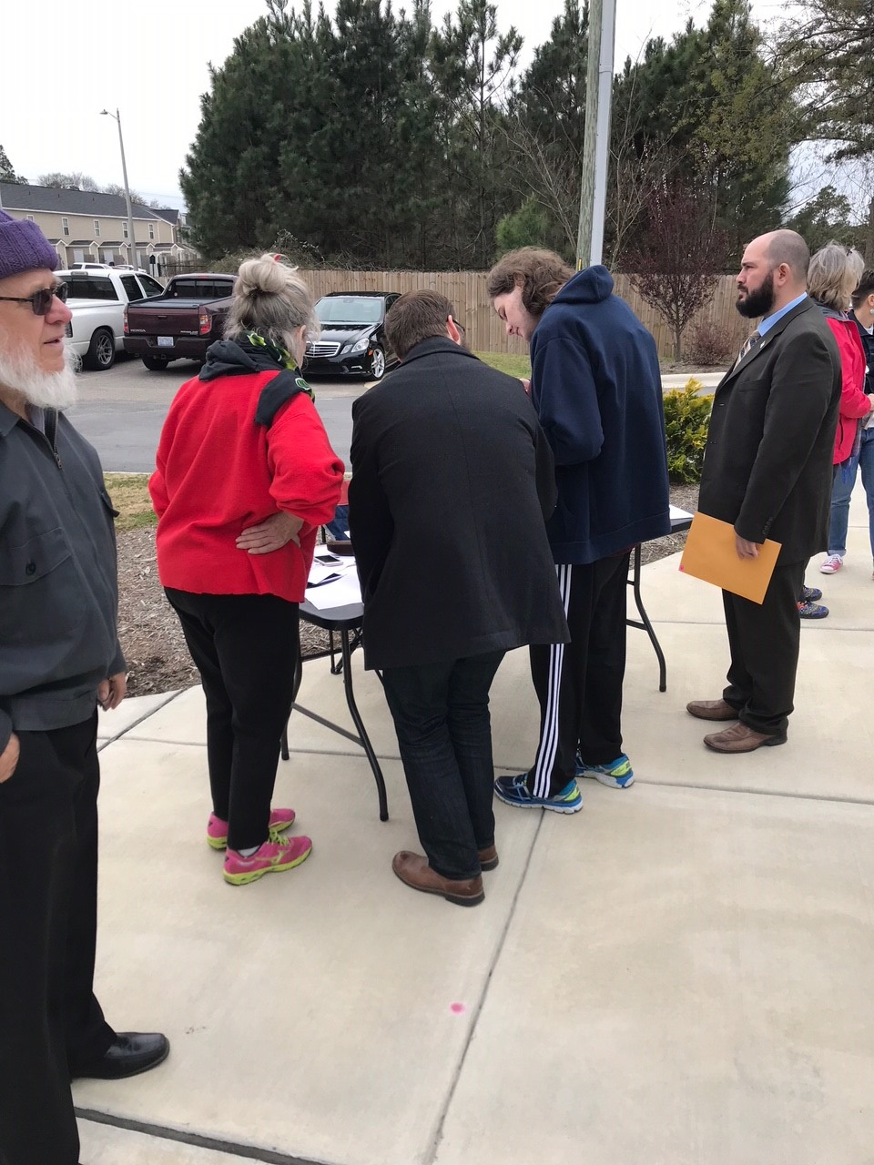 <div class='meta'><div class='origin-logo' data-origin='WTVD'></div><span class='caption-text' data-credit='Lou Guilette'>About a hundred people gathered in Fayetteville Saturday for March for Our Lives.</span></div>