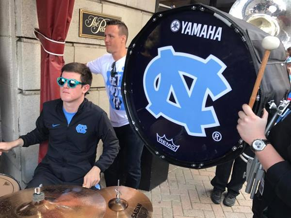 <div class='meta'><div class='origin-logo' data-origin='none'></div><span class='caption-text' data-credit='Credit: ABC11/Mark Armstrong'>UNC Tar Heels leave for Elite Eight match-up</span></div>