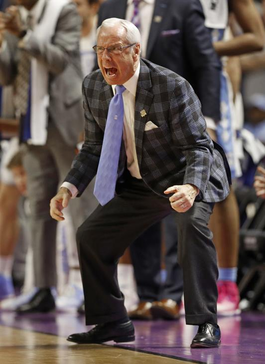<div class='meta'><div class='origin-logo' data-origin='AP'></div><span class='caption-text' data-credit='AP Photo/Chuck Burton'>North Carolina head coach Roy Williams shouts to his team during the second half in a second-round game against Arkansas</span></div>