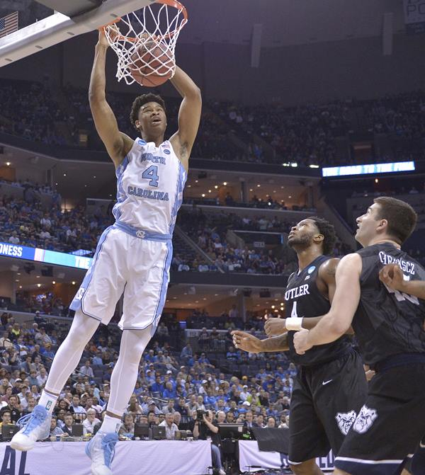 <div class='meta'><div class='origin-logo' data-origin='AP'></div><span class='caption-text' data-credit='AP Photo/Brandon Dill'>North Carolina forward Isaiah Hicks dunks the ball against Butler in the first half of an NCAA college basketball tournament South Regional semifinal game</span></div>