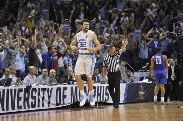 <div class='meta'><div class='origin-logo' data-origin='AP'></div><span class='caption-text' data-credit='AP Photo/Brandon Dill'>North Carolina forward Luke Maye celebrates after shooting the winning basket in the second half of the South Regional final game against Kentucky</span></div>