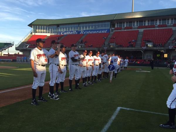 """<div class=""""meta image-caption""""><div class=""""origin-logo origin-image wtvd""""><span>WTVD</span></div><span class=""""caption-text"""">The Carolina Mudcats opened their home schedule Thursday, April 14, with a 3-2 win against Myrtle Beach at Five County Stadium in Zebulon. (Charlie Mickens)</span></div>"""