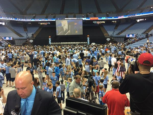<div class='meta'><div class='origin-logo' data-origin='none'></div><span class='caption-text' data-credit='Credit: Angelic Alvarez'>Tar Heel fans wait for their return at the Dean Dome</span></div>