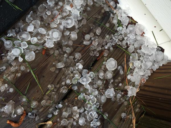 <div class='meta'><div class='origin-logo' data-origin='WTVD'></div><span class='caption-text' data-credit='ABC11 Eyewitness'>Hail at a front door in the Bunnlevel / Fonville area.</span></div>