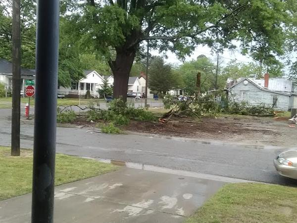 <div class='meta'><div class='origin-logo' data-origin='WTVD'></div><span class='caption-text' data-credit='ABC11 Eyewitness'>Hail and wind damage. Power lines are down.</span></div>