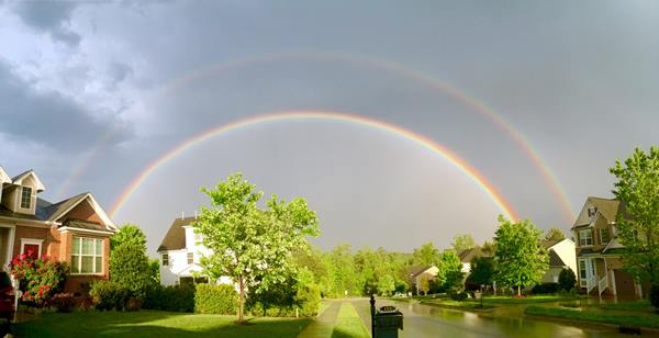 <div class='meta'><div class='origin-logo' data-origin='WTVD'></div><span class='caption-text' data-credit='ABC11 Eyewitness'>A double rainbow just before 7 p.m. in Apex.</span></div>