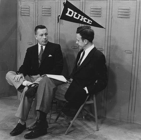 <div class='meta'><div class='origin-logo' data-origin='none'></div><span class='caption-text' data-credit='WTVD Photo'>Duke coach with Ernie Greup</span></div>