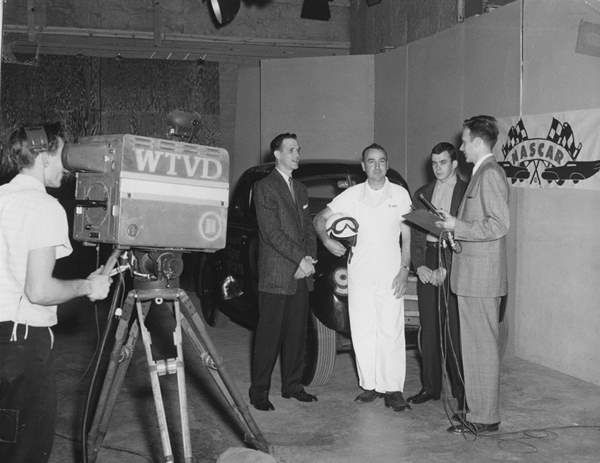 <div class='meta'><div class='origin-logo' data-origin='none'></div><span class='caption-text' data-credit='WTVD Photo'>Ernie Greup and early NASCAR racers in the studio, ca. 1950s.</span></div>