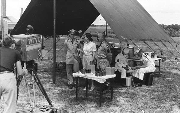 <div class='meta'><div class='origin-logo' data-origin='none'></div><span class='caption-text' data-credit='WTVD Photo'>Peggy Mann show on location with the Army in the 1950s.</span></div>
