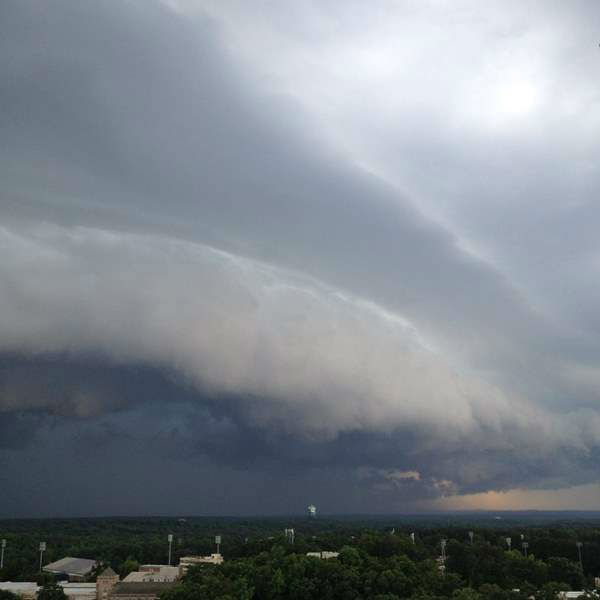 View from the top of Duke Chapel as thunderstorms swept across central NC. <span class=meta>WTVD iWitness Photo / Joni Wilson Harris</span>