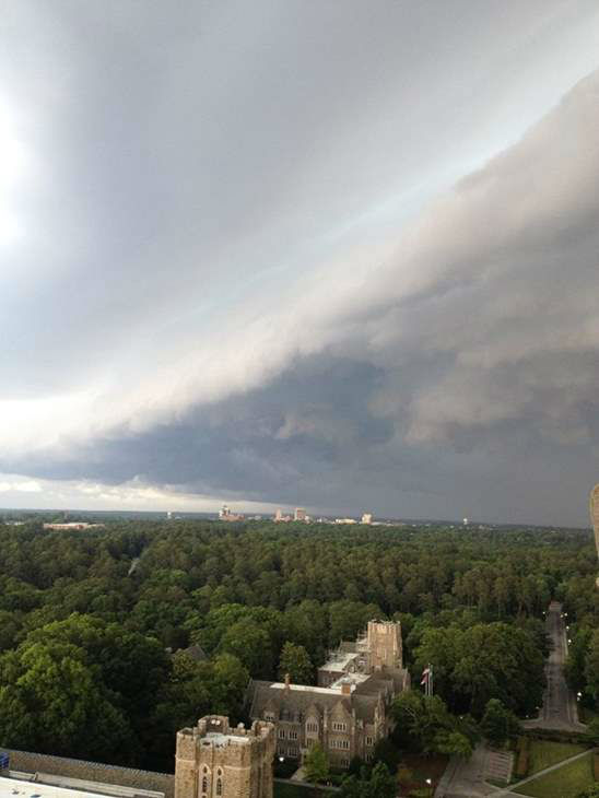 View from the top of Duke Chapel as thunderstorms swept across central NC Wednesday afternoon. <span class=meta>WTVD iWitness Photo / Joni Wilson Harris</span>