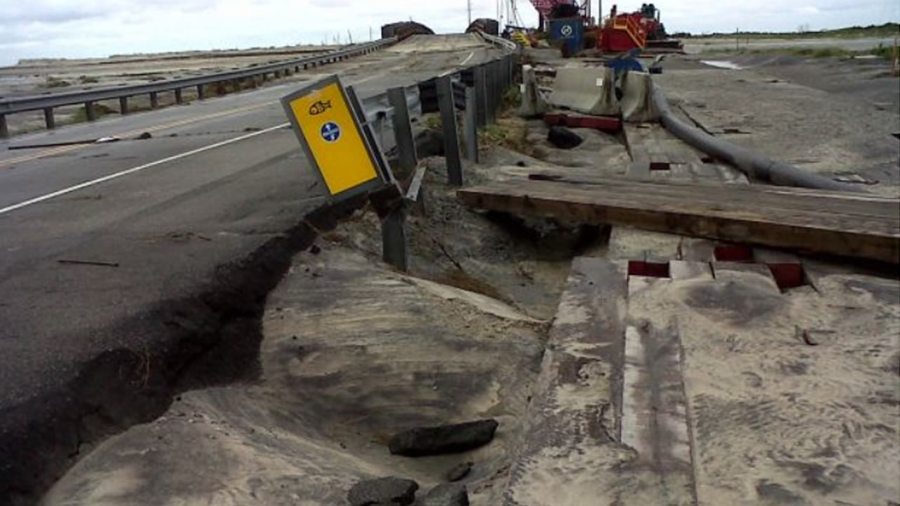 Damage to Hwy 12 along the Outer Banks caused by Hurricane Arthur <span class=meta>NCDOT Photo</span>