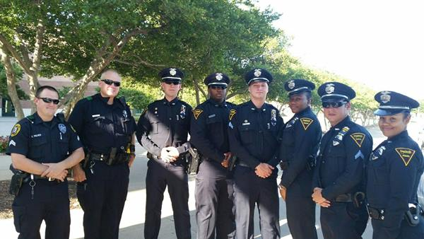 <div class='meta'><div class='origin-logo' data-origin='WTVD'></div><span class='caption-text' data-credit=''>Six officers represent the Fayetteville Police Department in Dallas</span></div>