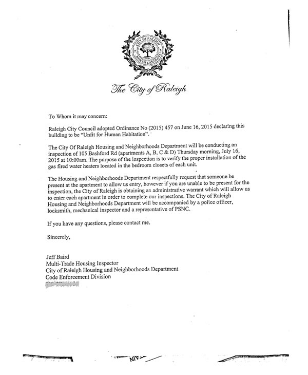 Tenants no hot water for weeks in unlivable building abc11 city of raleigh letter thecheapjerseys Images