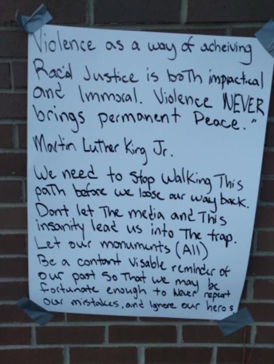 <div class='meta'><div class='origin-logo' data-origin='none'></div><span class='caption-text' data-credit='Credit: Raleigh Police Department'>Raleigh police say graffiti at the Dr. Martin Luther King Jr. Memorial Gardens does not appear to be racist.</span></div>