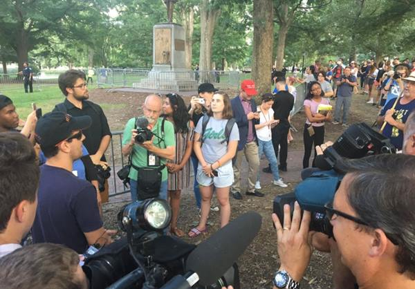 <div class='meta'><div class='origin-logo' data-origin='WTVD'></div><span class='caption-text' data-credit='Credit: Angelica Alvarez/Twitter'>Protestors gather on UNC's campus to protest the Silent Sam statue</span></div>
