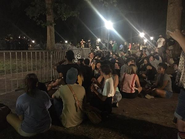 <div class='meta'><div class='origin-logo' data-origin='WTVD'></div><span class='caption-text' data-credit='Angelica Alvarez/Twitter'>Protesters gather at the Silent Sam statue on Tuesday.</span></div>