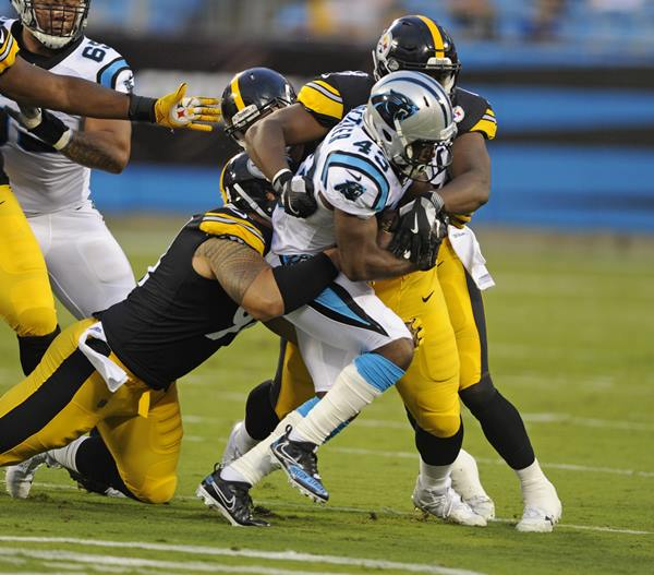"<div class=""meta image-caption""><div class=""origin-logo origin-image ap""><span>AP</span></div><span class=""caption-text"">Carolina Panthers' Fozzy Whittaker (43) is tackled by Pittsburgh Steelers' Tyson Alualu. (Mike McCarn)</span></div>"
