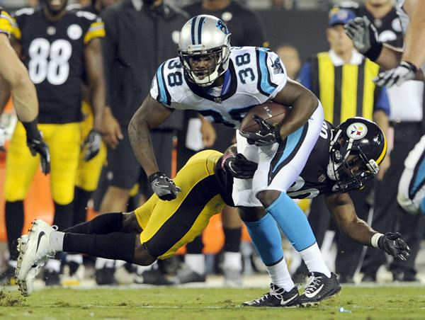 "<div class=""meta image-caption""><div class=""origin-logo origin-image ap""><span>AP</span></div><span class=""caption-text"">Carolina Panthers' Jalen Simmons (38) is hit by Pittsburgh Steelers' Malik Golden. (Mike McCarn)</span></div>"
