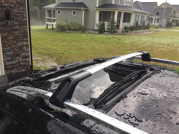 "<div class=""meta image-caption""><div class=""origin-logo origin-image wtvd""><span>WTVD</span></div><span class=""caption-text"">Hail on a vehicle. (ABC11 Eyewitness)</span></div>"