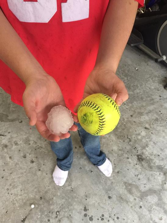 "<div class=""meta image-caption""><div class=""origin-logo origin-image wtvd""><span>WTVD</span></div><span class=""caption-text"">Here is a picture of a partially melted piece of hail next to a softball. (ABC11 Eyewitness)</span></div>"