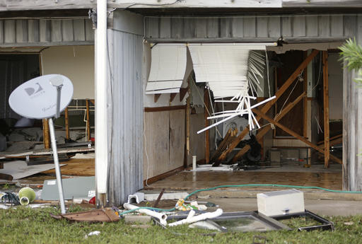 <div class='meta'><div class='origin-logo' data-origin='none'></div><span class='caption-text' data-credit=''>The front of a residence that was destroyed by Hurricane Hermine in Cedar Key, Fla. (AP Photo/John Raoux)</span></div>