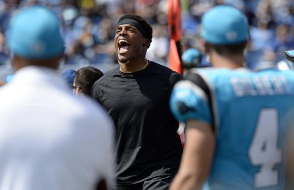 "<div class=""meta image-caption""><div class=""origin-logo origin-image ap""><span>AP</span></div><span class=""caption-text"">Cam being Cam on the sidelines. (Mark Zaleski)</span></div>"