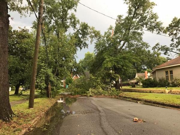 <div class='meta'><div class='origin-logo' data-origin='WTVD'></div><span class='caption-text' data-credit='Submitted by an ABC11 Eyewitness'>Storm damage in downtown Smithfield.</span></div>