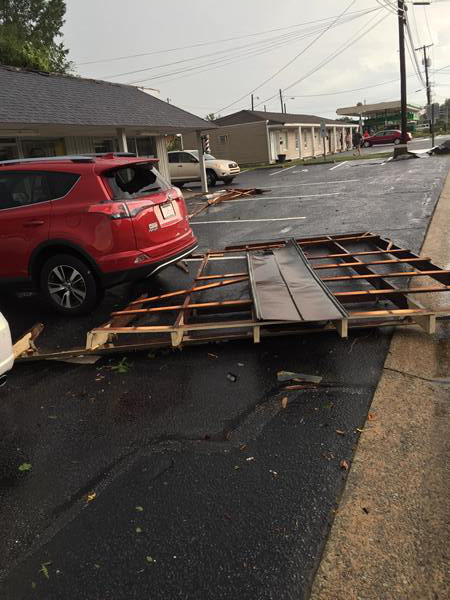 <div class='meta'><div class='origin-logo' data-origin='WTVD'></div><span class='caption-text' data-credit='Submitted by ABC11 Eyewitness'>Storm damage in downtown Smithfield.</span></div>
