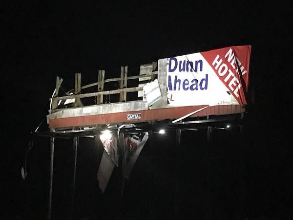 <div class='meta'><div class='origin-logo' data-origin='WTVD'></div><span class='caption-text' data-credit='Robert Judson'>Billboard damage in north Smithfield.</span></div>
