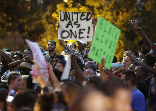 <div class='meta'><div class='origin-logo' data-origin='none'></div><span class='caption-text' data-credit=''>Demonstrators protest in Charlotte. (AP Photo/Chuck Burton)</span></div>