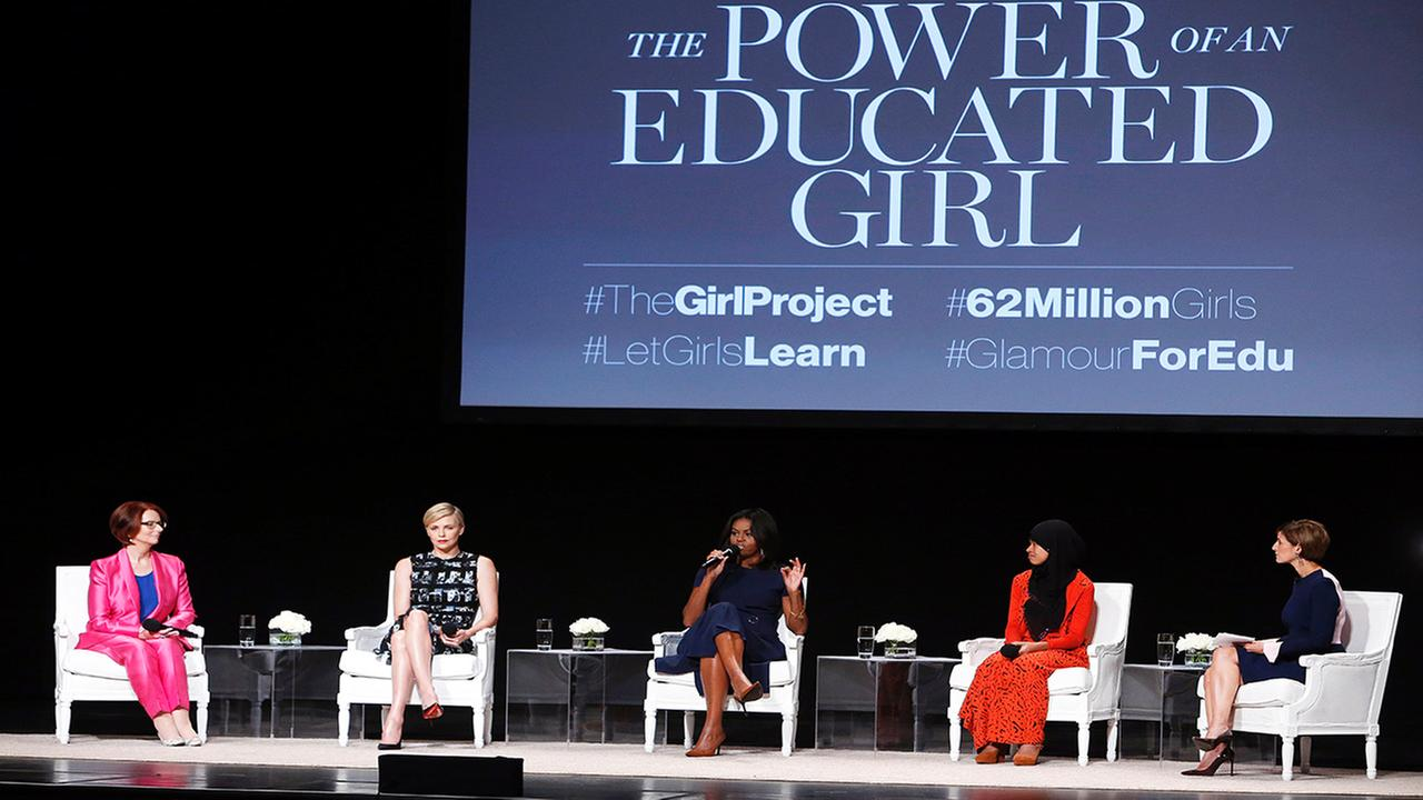 First lady Michelle Obama speaks during a panel discussion entitled The Power of an Educated Girl at the Apollo Theater, Tuesday, Sept. 29, 2015