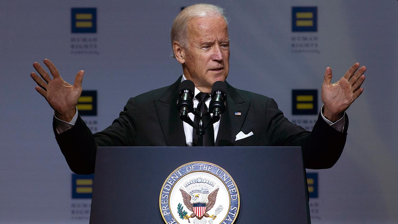 Vice President Joe Biden speaks during Human Rights Campaign National Dinner at Walter E. Washington Convention Center, in Washington, Saturday, Oct. 3, 2015.