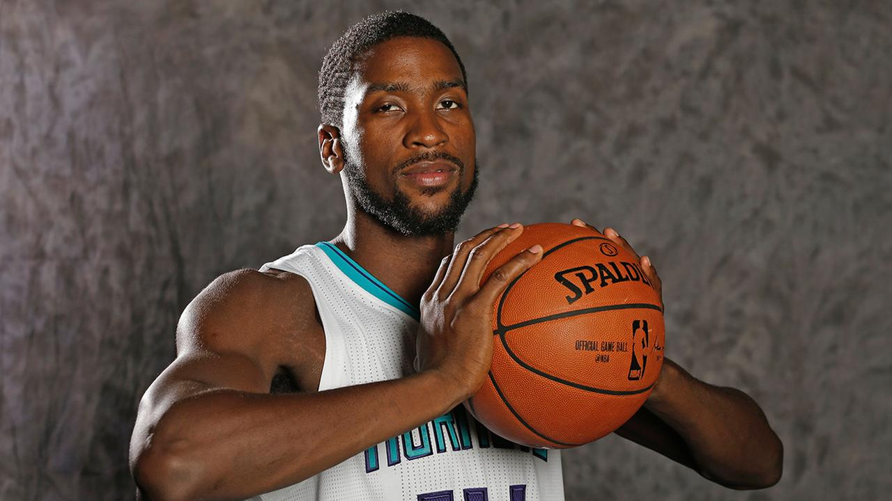 Charlotte Hornets Michael Kidd-Gilchrist poses for a photo during the NBA basketball teams media day in Charlotte, N.C., Friday, Sept. 25, 2015.
