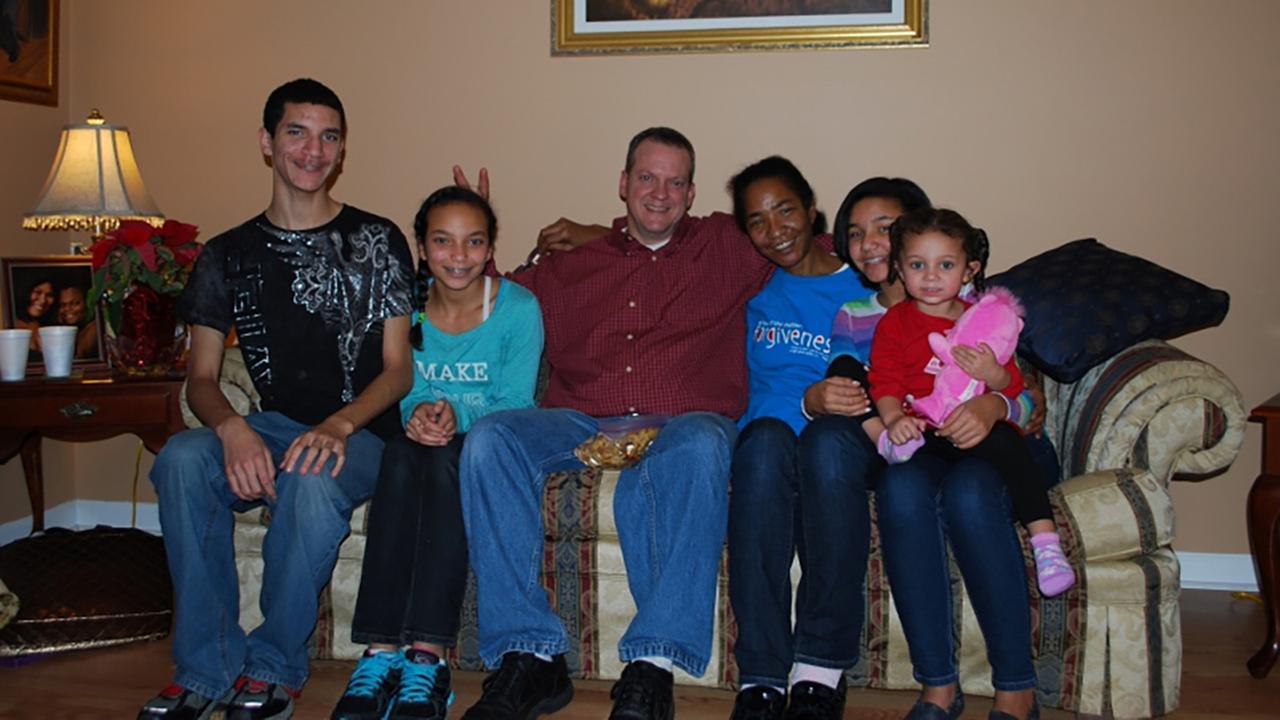 Kim Jackson with her husband, kids, and granddaughter