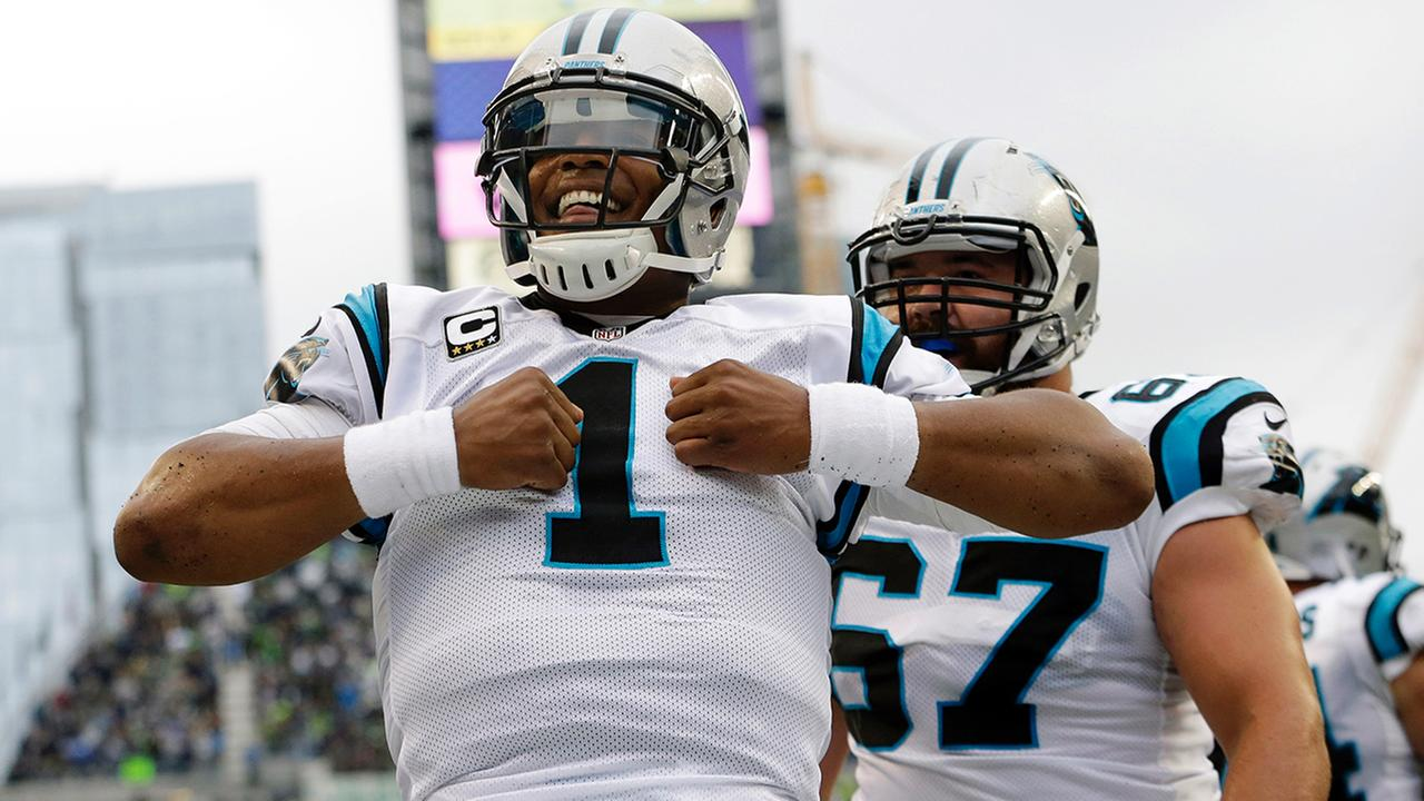 Carolina Panthers quarterback Cam Newton (1) reacts after he rushed for a touchdown in the first half of an NFL football game against the Seattle Seahawks, Sunday, Oct. 18, 2015AP Photo/Elaine Thompson