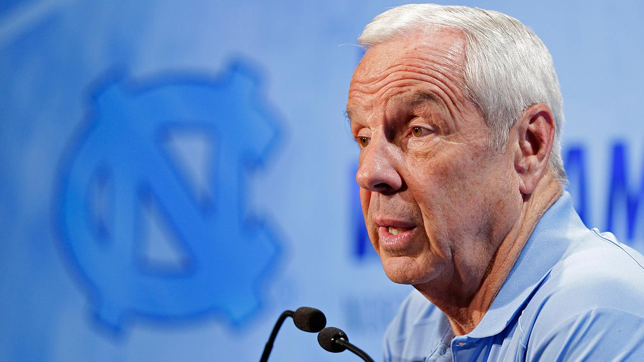 North Carolina NCAA college basketball coach Roy Williams answers a question during the Atlantic Coast Conference mens media day in Charlotte, N.C., Wednesday, Oct. 28, 2015.