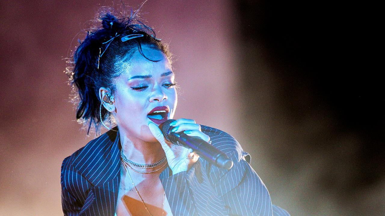 Rihanna performs at the 2015 We Can Survive Concert at the Hollywood Bowl on Saturday, Oct. 24, 2015, in Los Angeles.