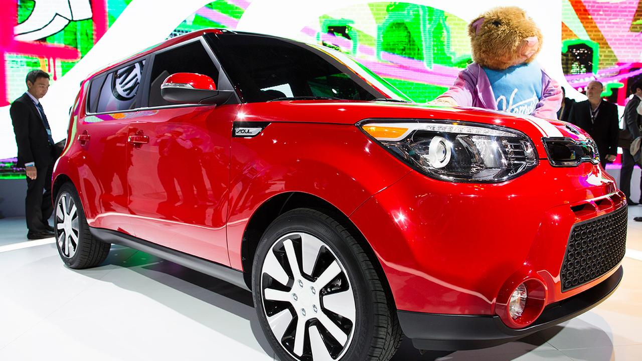 In this March 27, 2013 file photo, the 2014 Kia Soul is on display at the 2013 New York International Auto Show at the Jacob K. Javits Convention Center in New York.